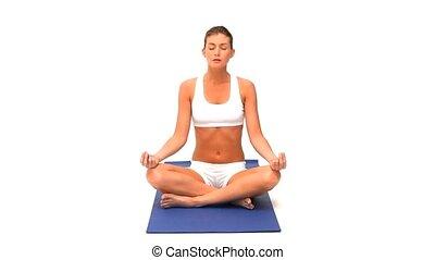 femme, pratiquer, yoga