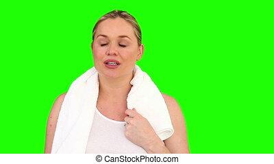 femme, pregnant, après, souffle, sport, dehors
