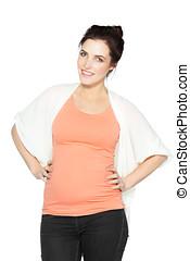 femme, pregnant, beau