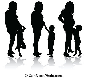 femme, pregnant, elle, fils