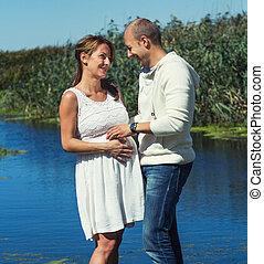 femme, pregnant, elle, homme
