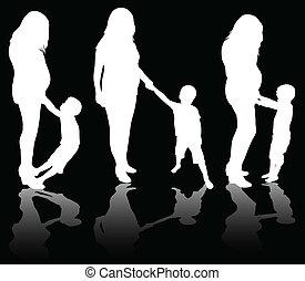 femme, pregnant, fils