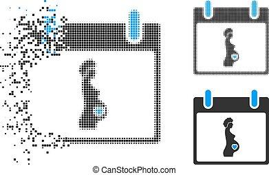 femme, pregnant, halftone, dissous, calendrier, pixel, jour, icône
