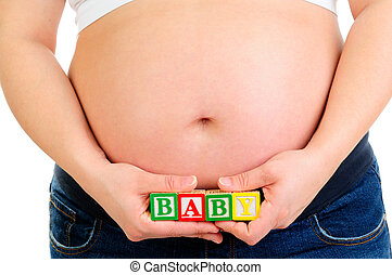 femme, pregnant, jeune