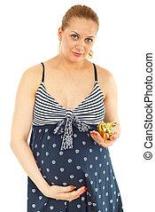 femme, pregnant, porcin, tenue, banque, heureux
