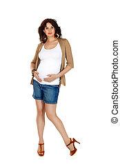 femme, pregnant, short