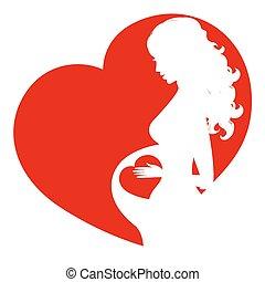 femme, pregnant, silhouette