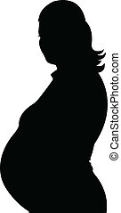 femme, pregnant, silhouette