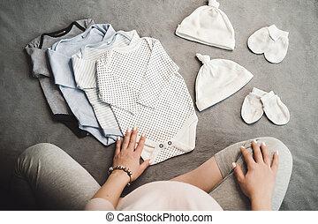 femme, pregnant, sommet, séance, clothes., unrecognizable, bébé, vue