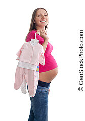 femme, pregnant, vêtements