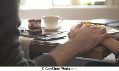 femme, prend, apprécier, gratuite, gai, desserts, temps, pourparlers, café, homme