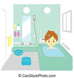 femme, prendre, bain