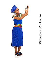 femme, prendre, jeune, africaine, portrait, soi