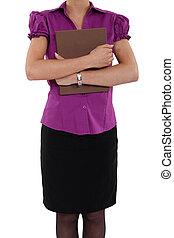 femme, presse-papiers, tenue