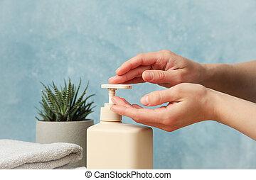 femme, pression, hygiène, liquide, concept, soap., mains, personnel