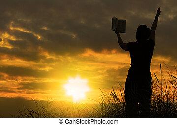 femme, prier, à, bible, #2