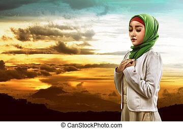 femme, prier, Asiatique, musulman