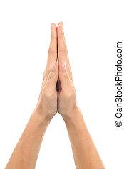 femme prier, geste, mains