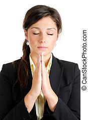 femme prier, jeune, business