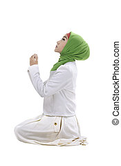 femme, prier, jeune, musulman
