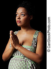 femme prier, jeune, pregnant