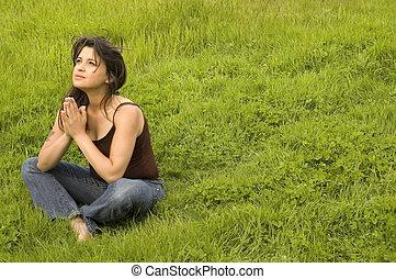femme prier, joli