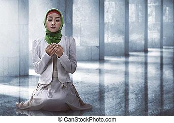 femme, prier, musulman