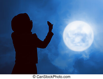 femme, prier,  silhouette