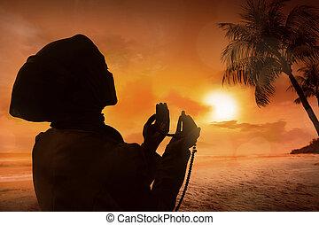 femme, prier,  silhouette, musulman