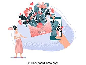 femme, printemps, courrier, temps, vecteur, facteur, fond, femme, bonjour, blanc, illustration., fleurs, bouquet, homme, éléments, nouvelles, amour, dessin animé, mâle, gens, lettre