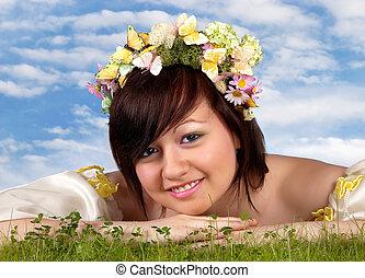 femme, printemps, heureux