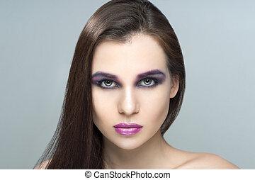 femme, professionnel, maquillage, modèle, portrait, beau