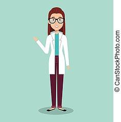 femme professionnelle, avatar, docteur