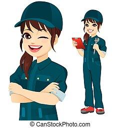 femme professionnelle, caractère, mécanicien