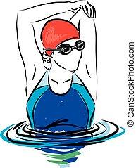 femme professionnelle, stretchi, nageur