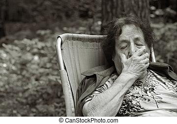 femme, profond, solitaire, dépression, vieux