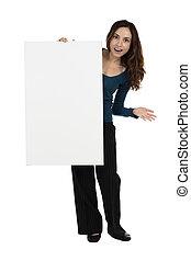 femme, projection, expres, annonce, panneau affichage,...