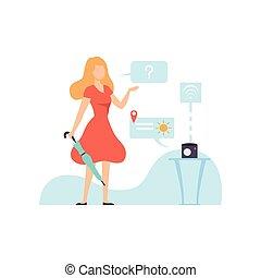 femme, projection, gadget, moderne, jeune, illustration, trouver, prévision, vecteur, innovateur, temps, utilisation, technologies, dehors