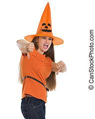 femme, projection, halloween, bas, pouces, chapeau