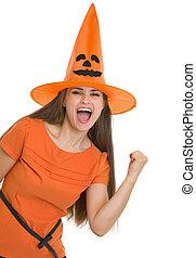 femme, projection, halloween, jeune, oui, chapeau, geste, heureux