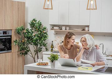 femme, projection, insouciant, comment, informatique, maman, travaux
