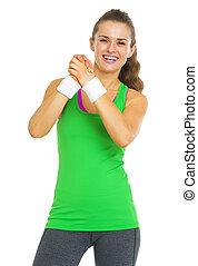 femme, projection, jeune, fitness, approbation, geste, heureux