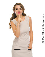 femme, projection, jeune, shh.., robe, geste