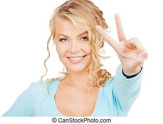 femme, projection, paix, jeune, signe, victoire, ou