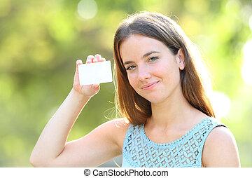 femme, projection, parc, crédit, vide, carte