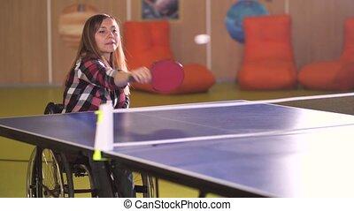 femme, projection, pendant, joyeux, signe, handicapé, v, jeu