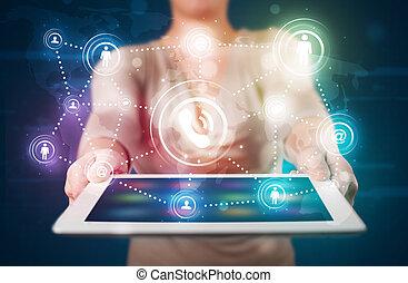 femme, projection, social, gestion réseau, technologie, à, coloré, lumières