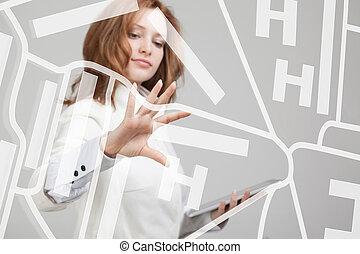 femme, projection, technologie, concept., map., avenir, emplacement, écran, navigateur, transparent, navigation, gps