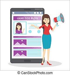 femme, promouvoir, elle, blog, dans, les, internet.