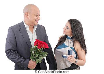 femme, proposer, homme